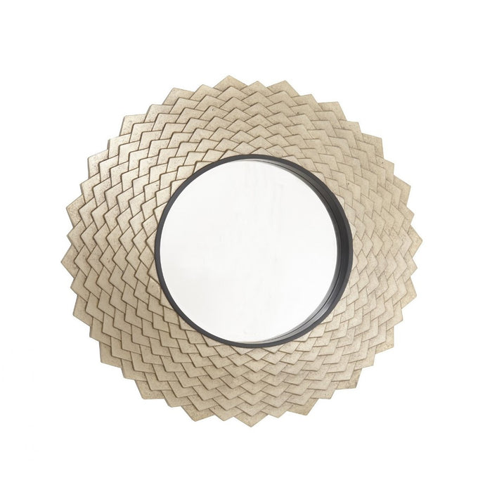 Vance Antique Brass Round Wall Mirror
