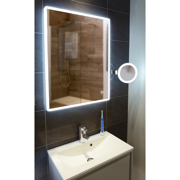 Vega LED Rectangular Bathroom Wall Mirror - 80 cm x 60 cm