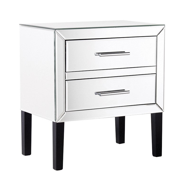 Venetian Mirrored 2 Drawer Low Bedside