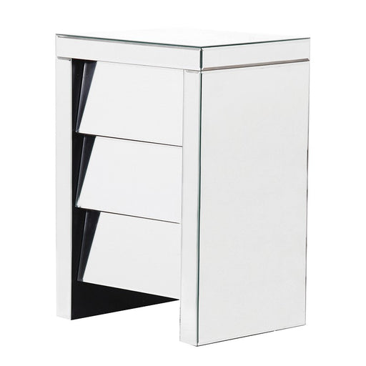 Venetian Mirrored Angled 3 Drawer Bedside
