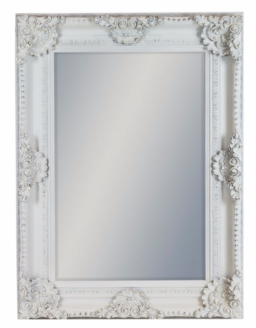 Antique White Rectangular Wall Mirror