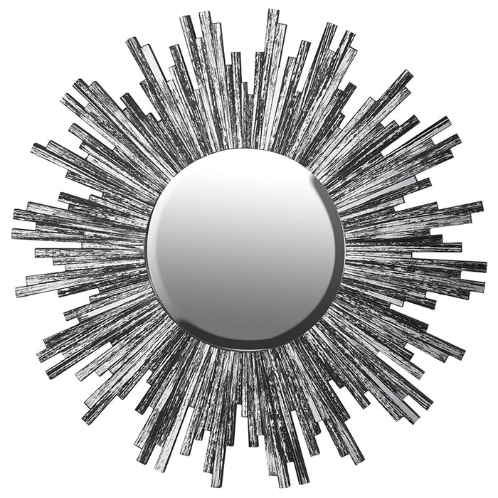 Silver Glass Starburst Wall Mirror