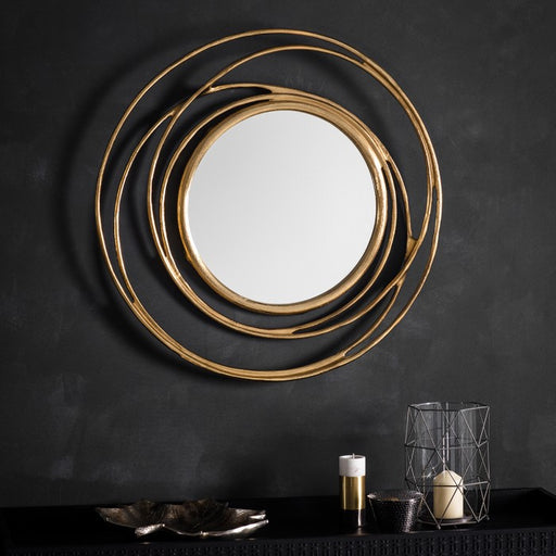Allende Round Satin Gold Decorative Wall Mirror