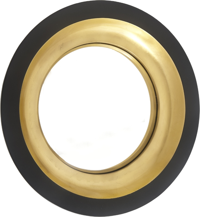 Modern Alne Black Gloss & Gold Leaf Convex Wall Mirror - 75 cm