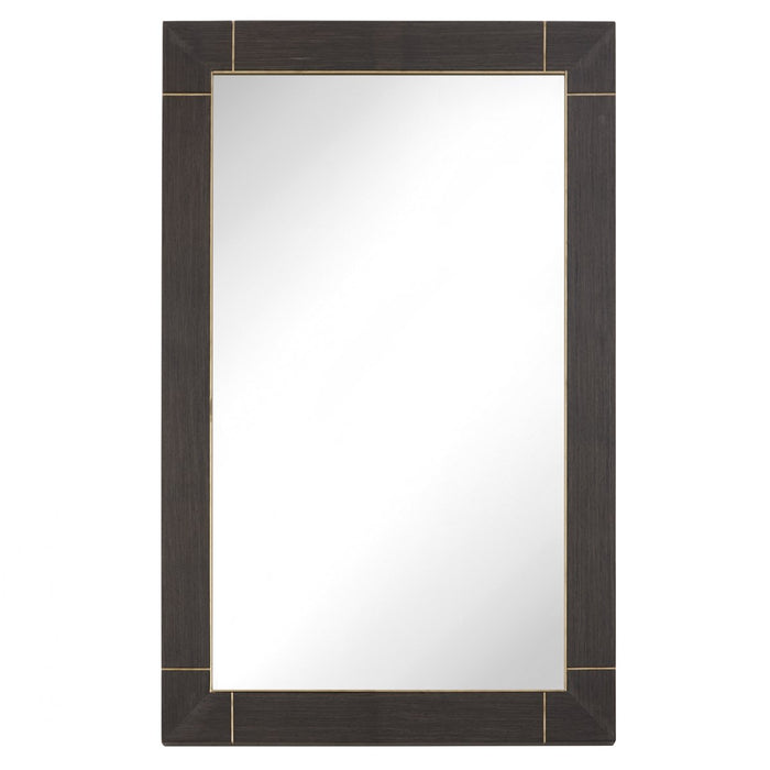 Contemporary Alpette Dark Brown Rectangular Frame Wall Mirror