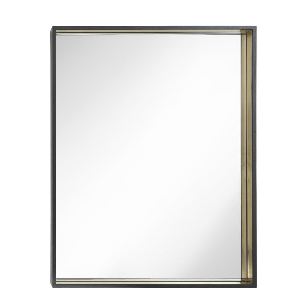 Alyn Black and Brass Rectangular Wall Mirror
