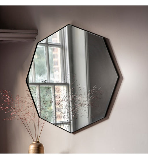 Bowie Octagonal Black Wall Mirror