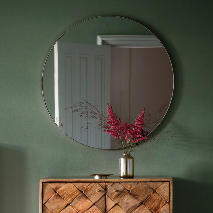 Bowie Silver Round Wall Mirror