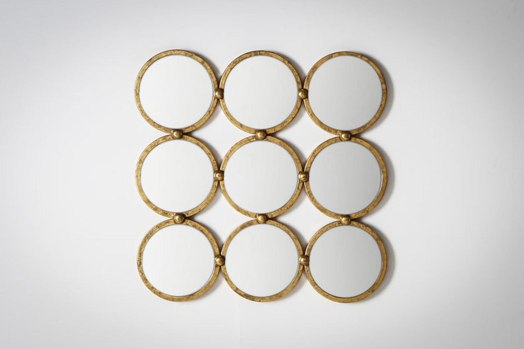 Bradbury Antique Gold 9 Circles Wall Mirror