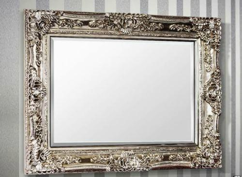 Rectangular Rocco Silver Ornate Wall Mirror-Ornate Mirror-Chic Concept