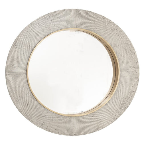 Edvin Champagne Silver Round Wall Mirror