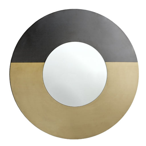 Modern Eirin Black and Brass Round Wall Mirror