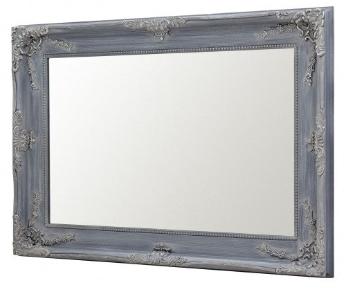 Charles Boroque Style Grey Rectangular Wall Mirror
