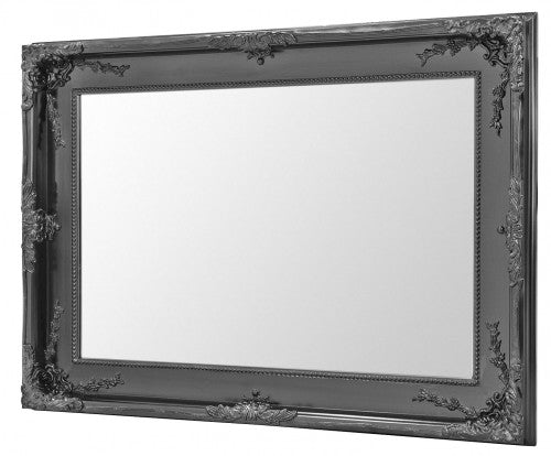 Charles Boroque Style Matte Black Rectangular Wall Mirror