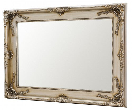 Charles Boroque Style Silver & Black Rectangular Wall Mirror