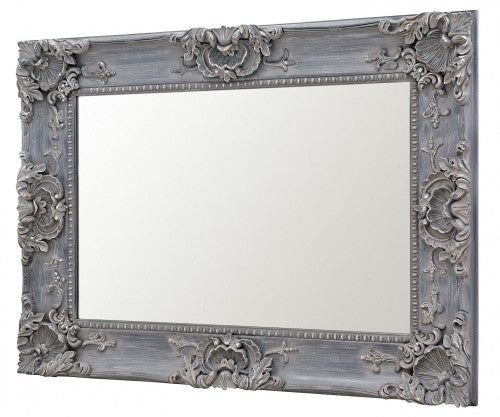 Louis Boroque Style Grey Rectangular Wall Mirror