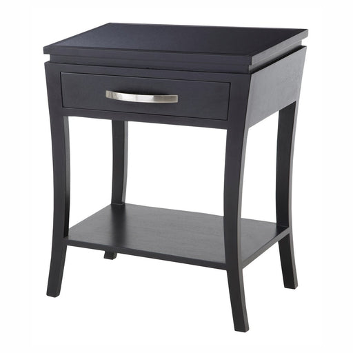 Black mirrored Top 1 Drawer Side/Lamp Table