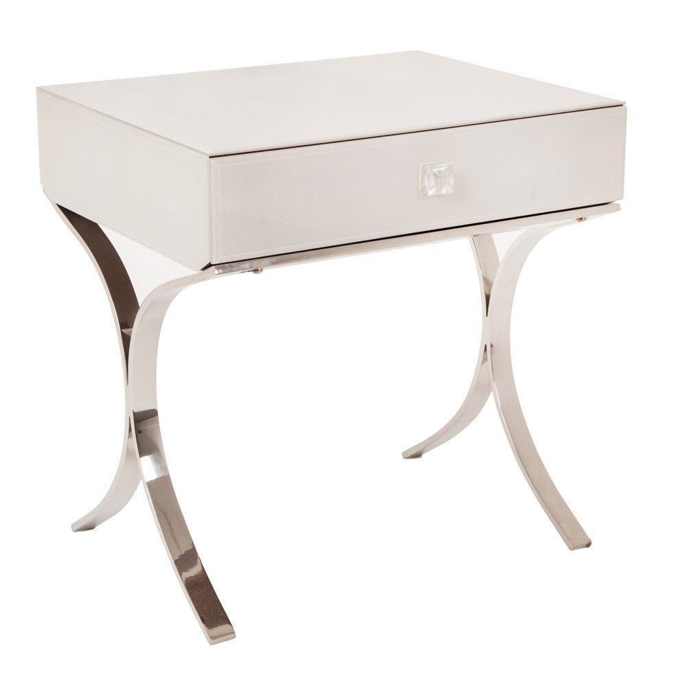 Iced Ivory Shagreen Sovana 1 Drawer Side Table