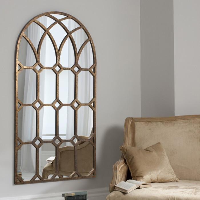 Khadra Decorative Metal Window Bronze Mirror-Decorative Mirror-Chic Concept