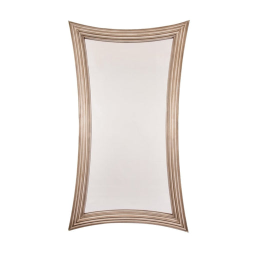 Large Bowed Antique Silver Wall Mirror