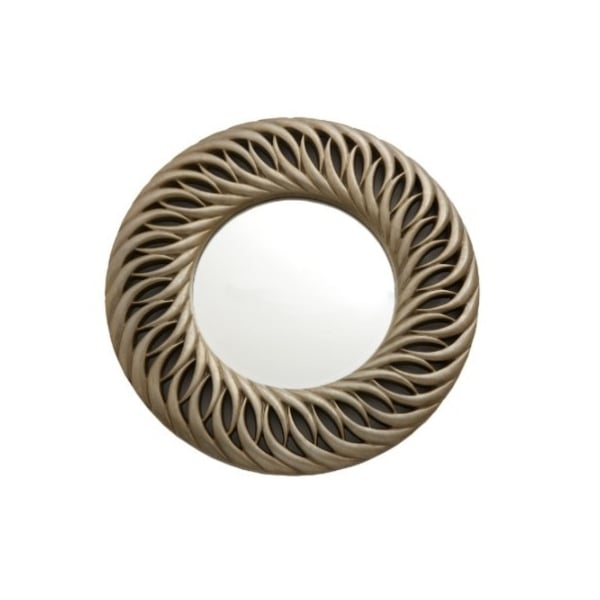 Quinta Spiral Light Gold Leaf Round Wall Mirror