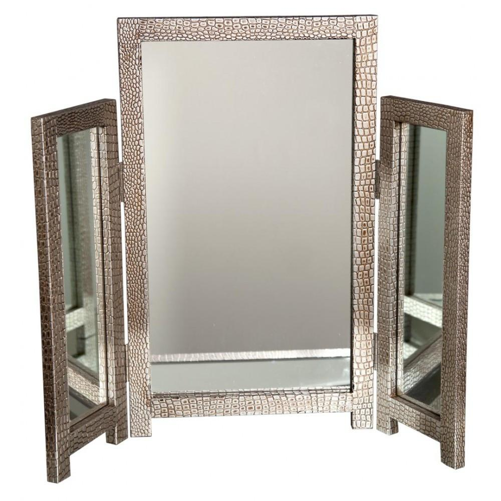 Moc Croc Silver Triple Dressing Table Mirror Mock Croc Finish-Dressing Table Mirror-Chic Concept