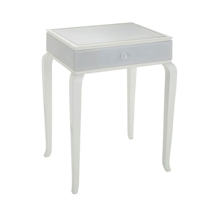 Grey Shagreen Glass Tralee 1 Drawer Bedside