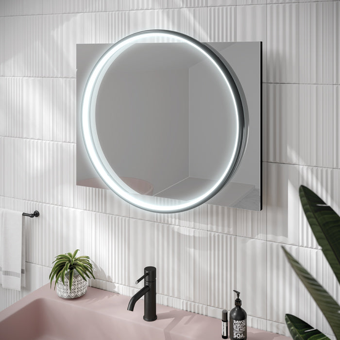 Solas Black LED Rectangular Bathroom Wall Mirror - 80 cm x 60 cm