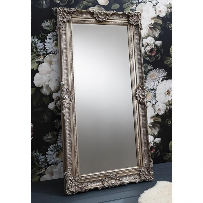 Stretton Leaner Traditional Antique Silver Mirror-Full Length Mirror-Chic Concept