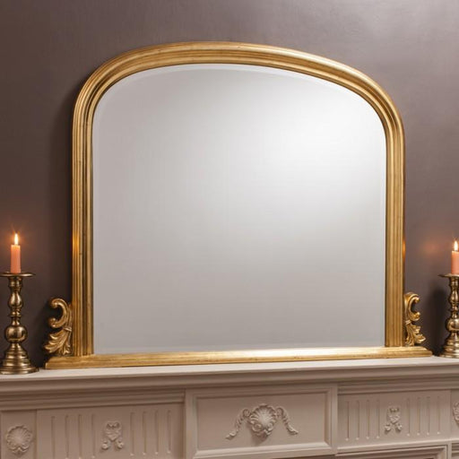 Thornby Contemporary Overmantle Wall Mirror Gold-Overmantle Mirror-Chic Concept