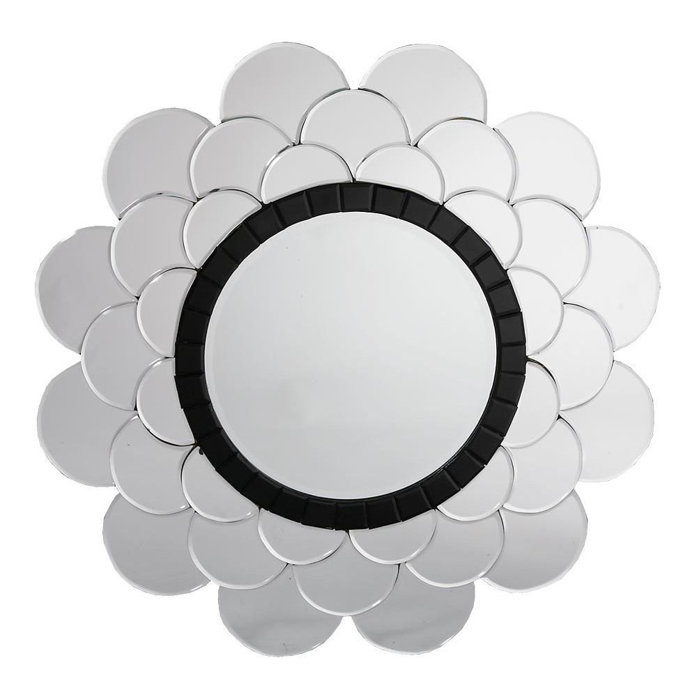 Contemporary Venetian Petal Round Black & Clear Decorative Wall Mirror-Decorative Mirror-Chic Concept