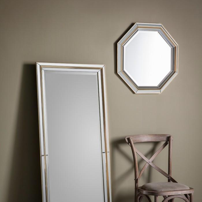 Vogue Octagon Modern Gold Wall Mirror-Wall Mirror-Chic Concept