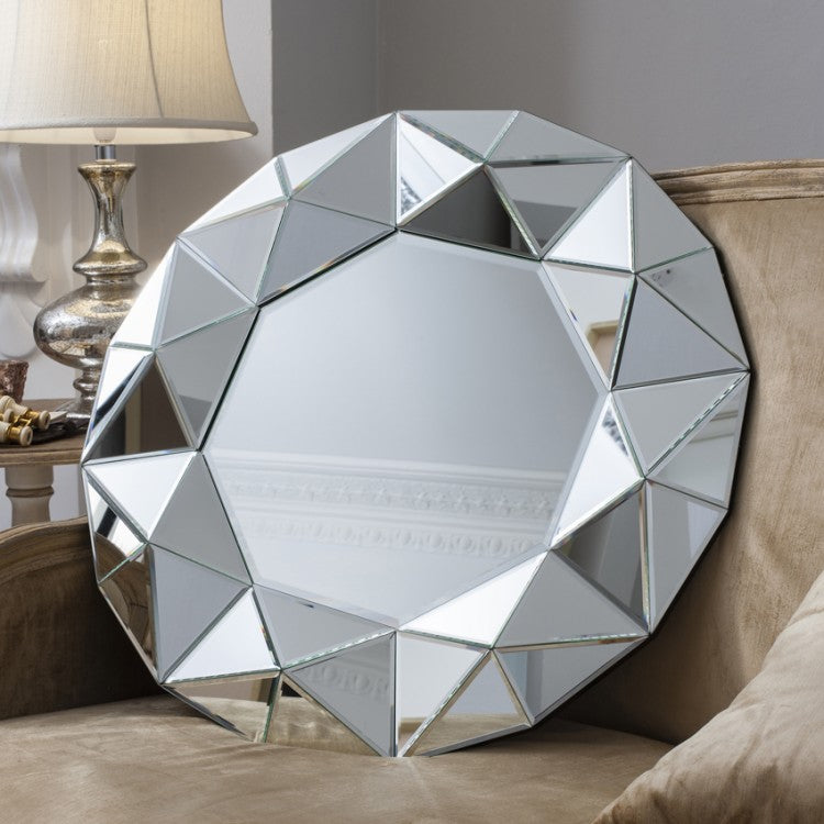 Zaragoza Round Multi Faceted Wall Mirror