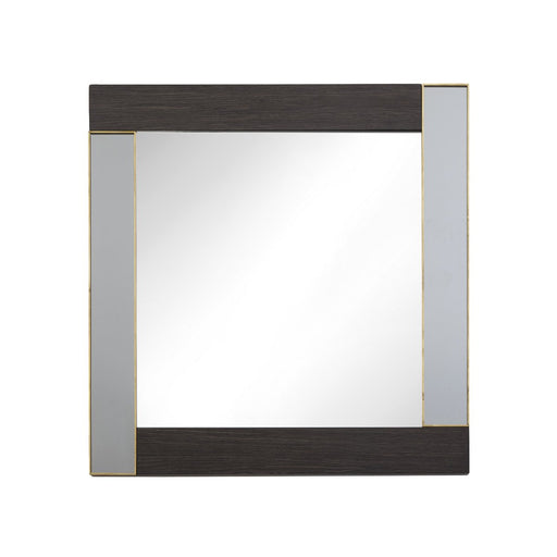 Zerne Smoke Brass Trim Square Wall Mirror