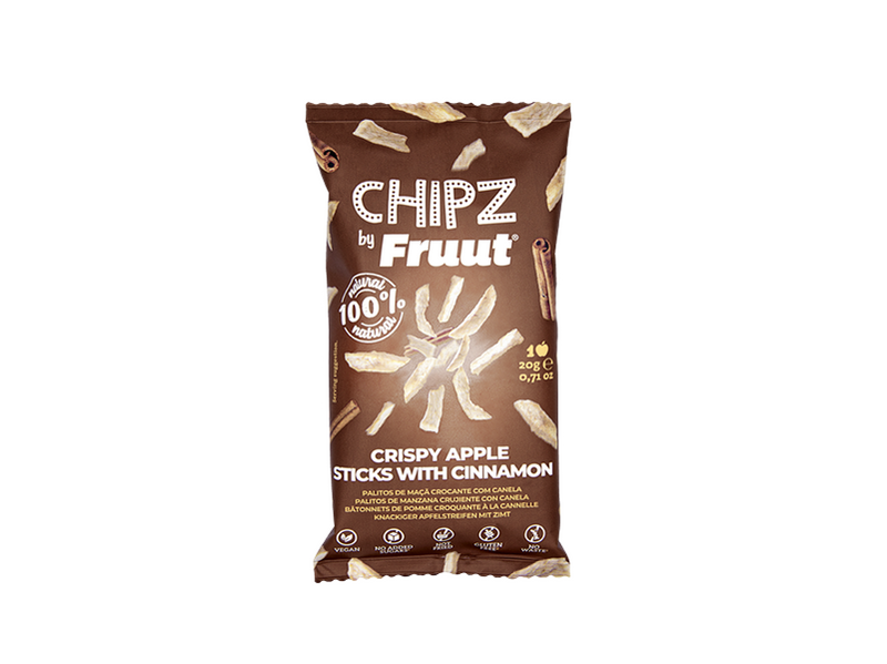 fruut, crispy, chipz, healthy, snack, cinnamon, canela, maça, sticks