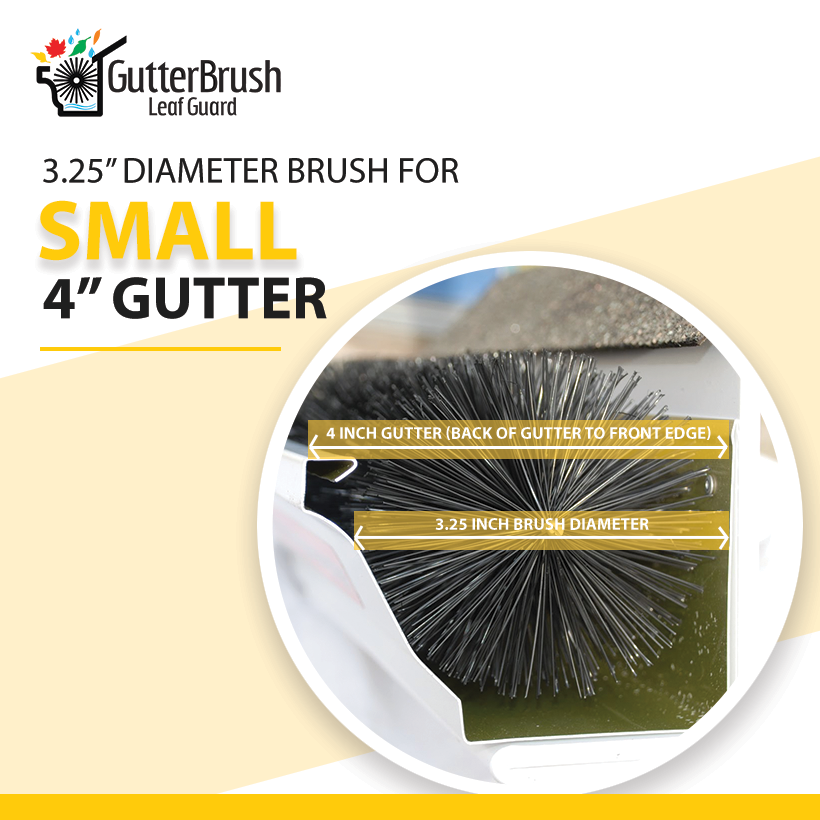GutterBrush Leaf Guard - 4 inch Small / Specialty Gutters
