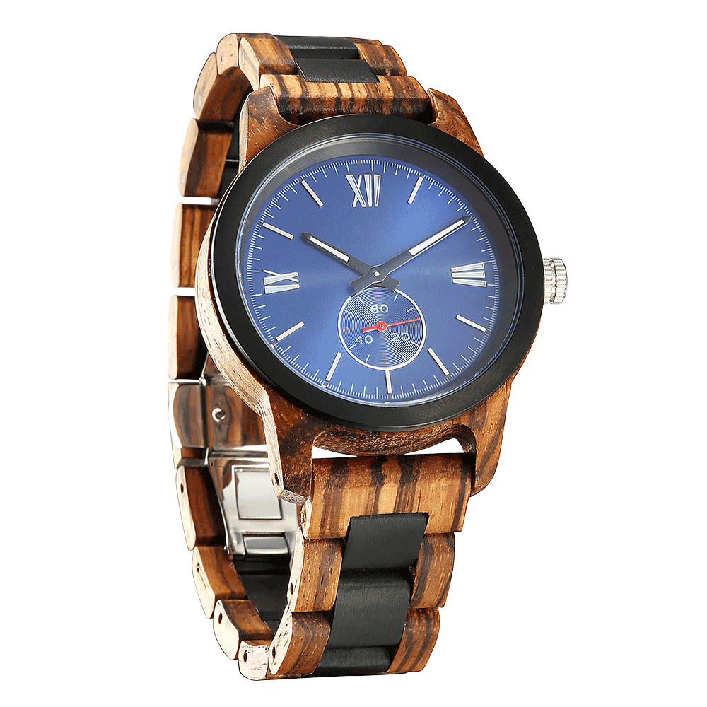 Personalized Engraved Zebra & Ebony Wood Watch