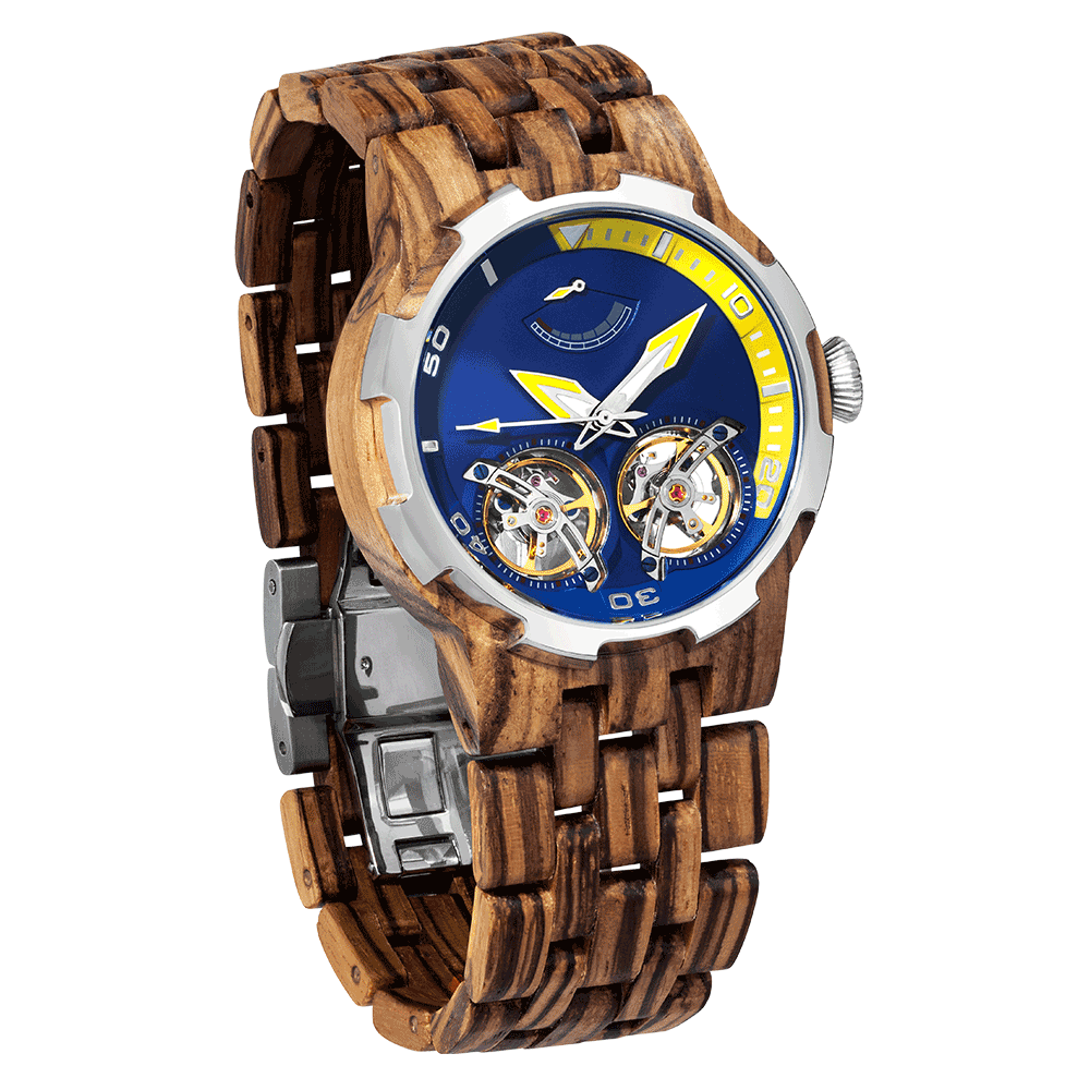 2019 NEW Dual Wheel Automatic Zebra Wood Watch for Men