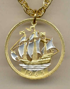 "Coin Jewelry - British ½ penny ""Sailing ship"""
