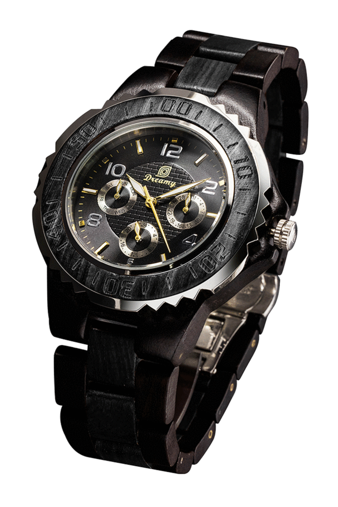 Mens Six Hands Multifunction Display Black Wood Watch