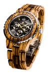 Mens Six Hands Multifunction Display Zebra Wood Watch