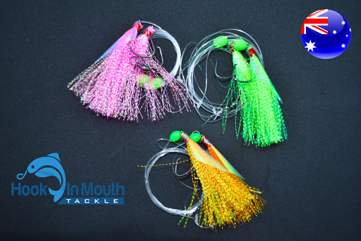 6 x 3//0 Mixed Rigs Snapper Snatcher Rig Flasher 4//0lb Paternoster Flathead