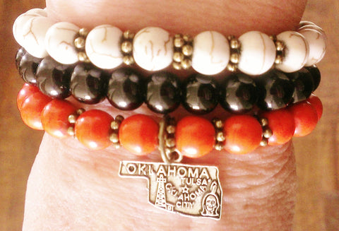 Oklahoma beaded bracelet (Choose between cream, black or orange)