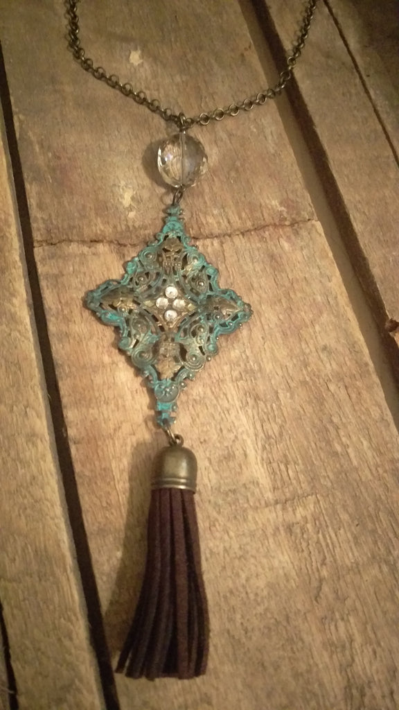 Vintage Charm Necklace with Swarovski Crystals