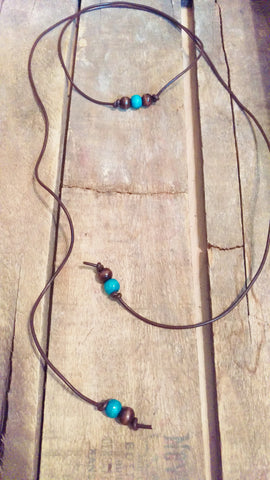 Lariat Style Necklace with Turquoise and Wood Beads