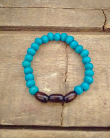 Turquoise and Brown Wood Bracelet