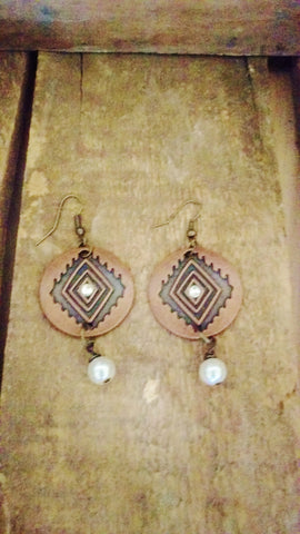 Aztec Earrings with Pearl Dangle