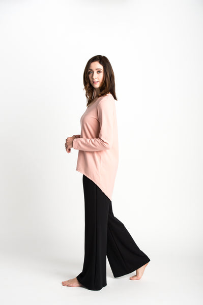 Flared leg pants with a comfortable, wide waistband made from black bamboo fabric.