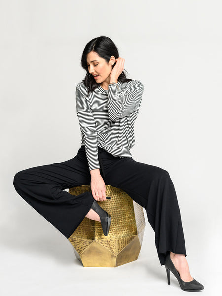 Black wide leg pants made from plush bamboo fleece.