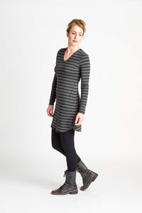 Duffield-Design-Fitted-V-Neck-Tunic-Grey-Black-Stripe-Side